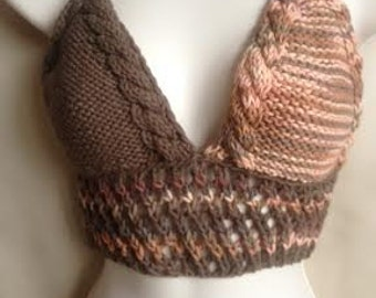 30% OFF, Peach halter top, brown crochet halter, crochet top with natural beads
