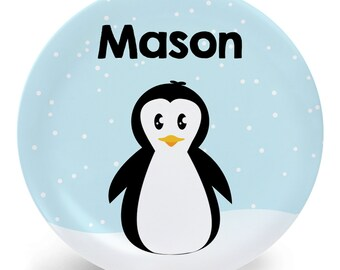 Penguin Plate - Child's Plate - Child's Bowl - Penguin in Snow Melamine Bowl or Plate Personalized (Plastic)