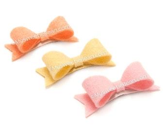Pastel Felt Bows for Babies, No Slip Snap Clips for Baby, 2 inch Felt Bows with Tails, Felt Baby Bows Set, Pink, Buttercup, Georgia Peach
