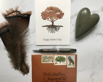 Fathers Day, Personalized Envelope, Vintage Stamps, All about Dad