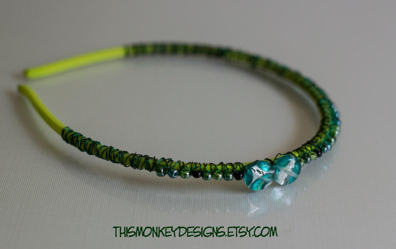 Gute grüne Algen Draht umwickelt Perlen Stirnband /