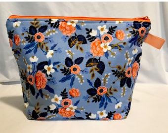 Large Project Bag - Blue Flowers Rifle Paper Co.