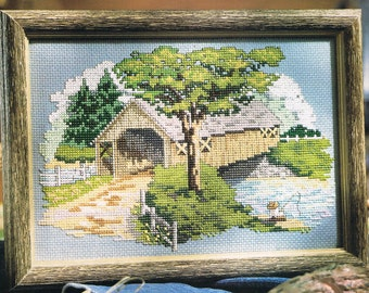 Senic Covered Wooden Bridge Counted Cross Stitch Pattern - Country Cross Stitch - Summer Cross Stitch