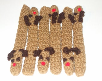 Six Rudolph Reindeer Crocheted Candy Cane Covers