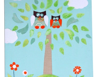 Two Owls Canvas / Children's Art / Boys / Girls Picture / Nursery Decor - Blue, Pink, Yellow