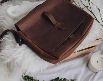 Vintage evening bag, top handle purse, cross body bag, brown leather purse, leather pouch, genuine leather bag, top handle bag leather