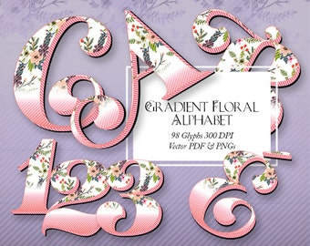 "Beautiful Floral Alphabet. 150 DPI, 4"" PNGs with Transparent Background, Scalable Vector PDF, Clip Art, Latin Glyphs"