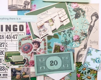 Vintage Ephemera pack- Aqua Girly Mix, game cards, paper, collage, scrapbook, journalling, smashbook, junk journal