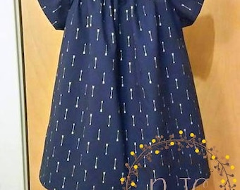 Navy Gold Arrow Peasant Tunic Top - Size 4T - OOAK