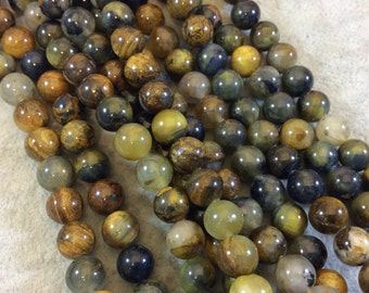 """8mm Smooth Golden Pietersite Round/Ball Shaped Beads - 16"""" Strand (Approximately 49 Beads) - Natural Semi-Precious Gemstone"""