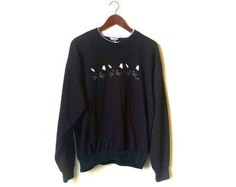 Vintage 1980s kitty cat lady cat love Sweatshirt