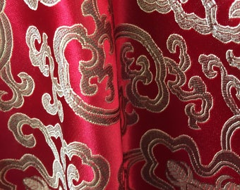 Adelaide RED GOLD Chinese Brocade Satin Fabric by the Yard - 10058