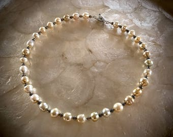 white gold south sea pearls necklace leather