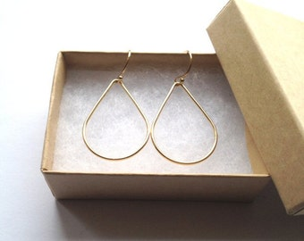 Gold Teardrop Earrings/ Geometric Earrings/ Gold Dangle Earrings/ Best Friend Gift/ Gold Drop Earrings/ ALSO IN SILVER