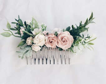 Hair comb Pale pink and dusty rose and grenery headpiece, floral hair piece, pale pink hair clip, bridal hair piece, blush pink comb, leavfy