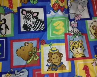 Baby Animals With Numbers Fabric