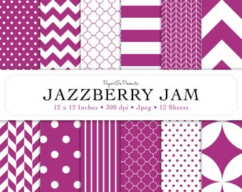 """Basic Patterns """"JazzBerry Jam"""" Digital Paper  • Instant Download • Scrapbooking Supply • High Quality •  Digital Paper Pack • Commercial Use"""