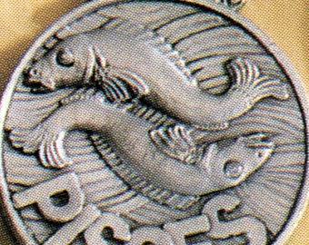 Pisces Zodiac Pewter Pendant for birthdates Feb 19 - March 20