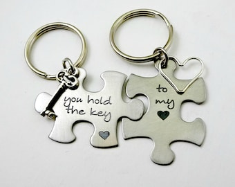 Couples Keychain Set, You Hold the Key to My Heart Puzzle Set, Couples Wedding from Bride to  Groom Husband Partner Valentine's Day