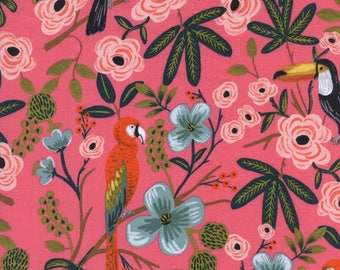 Menagerie by Rifle Paper Co for Cotton + Steel - Paradise Garden Coral - Rayon Lawn Fabric
