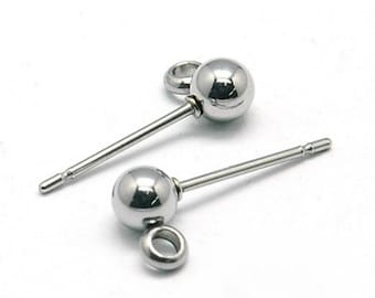 5 pairs(10pcs) 304 Stainless Steel Ear Stud Components-bb154