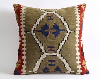 20x20 kilim cushion, green wool pillow, bohemian decor, green kilim cushion cover, vintage kilim, pillow covers, aztec pillow, anatolian