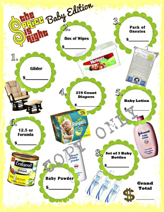 Printable Price is Right Baby Shower Game