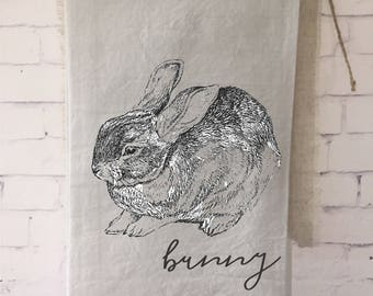 easter bunny tea towel, spring bunny, wedding gift, bridal shower gift, housewarming, gift for mom