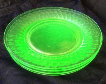 Vintage Vaseline Glass Set of Four Diamond Pattern Salad Plates - Made in USA - 1920's to 1940's