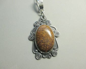 Mariem Jasper Pendant Artisian Style Sterling Silver with Sterling Chain