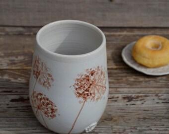 Dandelion stoneware mug -  Stoneware Tea Mug  in white -  Stoneware  - teacup