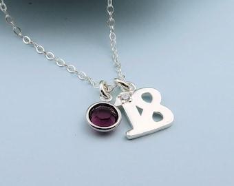 18th Birthday Necklace, sterling silver, custom birthstone crystal, happy birthday gift