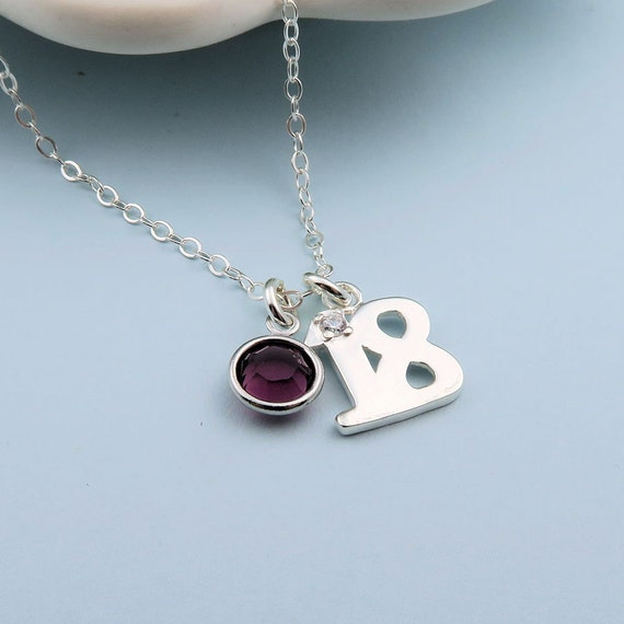 18th Birthday Cz T Bar Sterling Silver Heart Bracelet Can: 18th Birthday Necklace Sterling Silver Custom Birthstone