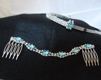 Wedding headband and side combs set set in Ice Blue stones