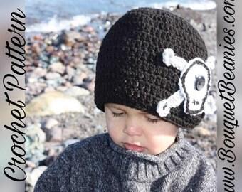 PDF Crochet Pattern - SKULL & BONES Beanie Hat Crochet Pattern- 6 Sizes