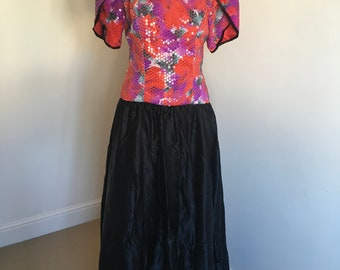 Vintage John Charles Floral Sequin Black Taffeta Maxi Dress. Size 12