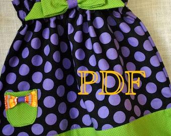 Halloween - Ginger Snap Play Dress - Baby Toddler Girls Easy Beginner PDF Dress Pattern Sizes Newborn, 0-3, 3-6, 6-12, 18 months, 2, 3, 4,