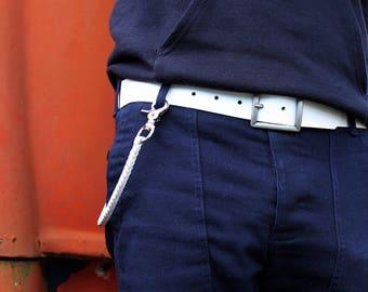 Mens White Leather Belt, San Filippo Leather Signature Belt, Removable Buckle Brass or Nickel, Wide 1.5 Belt