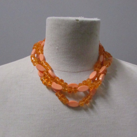 jewelry set with clip on earrings and multi strand vintage 60s bead necklace