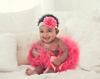 Coral First Birthday Tutu, Baby Girl Tutu, Newborn Tutu Set, Tutus, Tulle Tutu Skirt, Baby Tutu, Photography Prop, Toddler Tutu, Infant Tutu