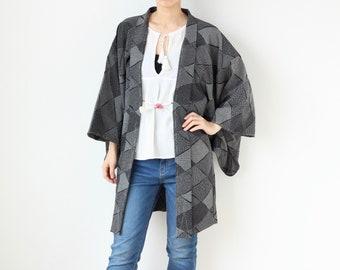 diamond pattern kimono, Vintage haori, Unique clothing, Authentic kimono, Japanese kimono /3427