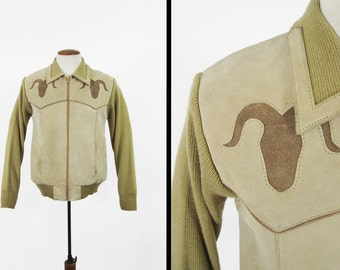 Vintage 1970's Men's SILTON Suede & Knit Steer Western Zippered Khaki Color Cardigan Sweater with Steer Ohiy9KvV