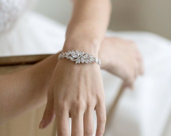 Wedding Bracelet, Cubic Zirconia Bracelet, Bridal Bracelet, Gold Bracelet, Rose Gold Bracelet, Wedding Jewelry