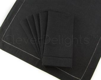 "12 Pack - 20"" Black Hemstitch Dinner Napkins - 55/45 Linen/Cotton Blend - Ladder Hemstitch Cloth Napkins - Embroidery Supplies - 20"" x 20"""