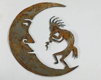6 inch Kokopelli on the Moon Southwest Metal Rough Rusty Vintage-y Steel Wall Art Ornament Craft DIY Sign Wind Chime