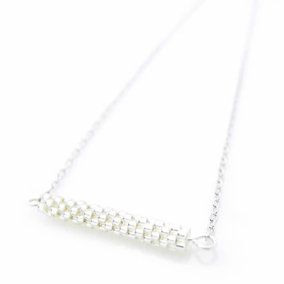 Silver Bar Necklace, Beaded Silver Necklace, Beaded Bar Necklace, Horizontal Bar Necklace, Minimalist Necklace, Stacking Necklace