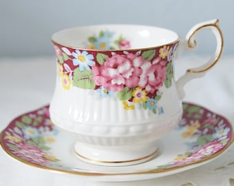Vintage Queens Rosina 'Oxford' Bone China Cup and Saucer, Colorful Flower Decor, England