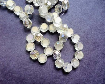 70 Clear Frosted Electroplated Glass Faceted Round Spacer Beads - 25-6