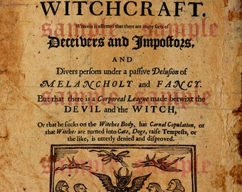 Printable Digital Download Witchcraft Witch Trials Poster Iron on Transfer Rare Art Print Paper Art Supplies Old Paper Document