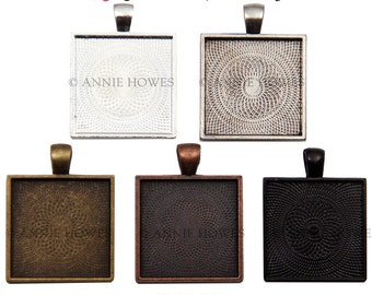 """25mm Square Bezel Pendant Tray with Textured Back. 25mm or 1"""". Silver, Gold, Copper Colors Available. 100 Pack."""